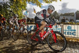 Trek-Segafredo's Toms Skujins powers over the cobbles at the 2020 edition of Gent-Wevelgem
