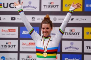 Gold medalist US Chloe Dygert poses on the podium after the womens individual pursuit final at the UCI track cycling World Championship at the velodrome in Berlin on February 29 2020 Photo by Odd ANDERSEN AFP Photo by ODD ANDERSENAFP via Getty Images