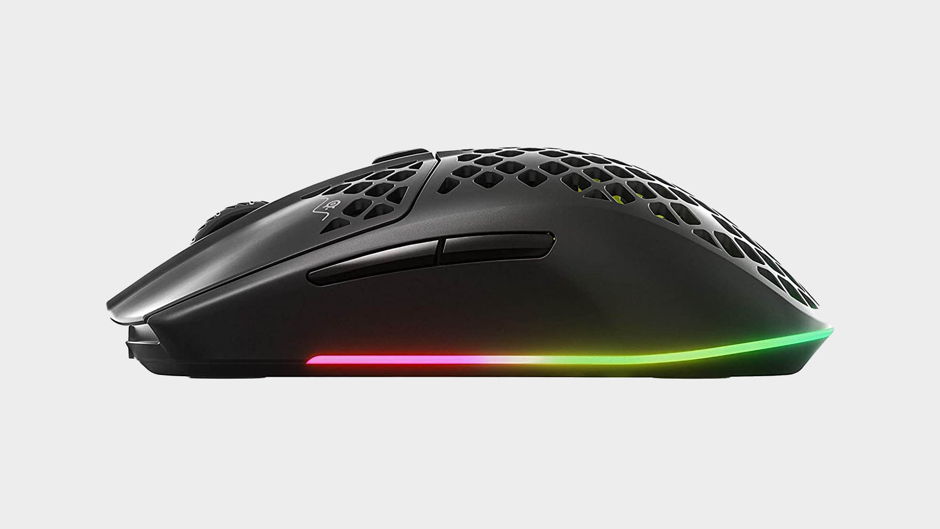 SteelSeries Aerox 3 Wireless gaming mouse from various angles on light grey background
