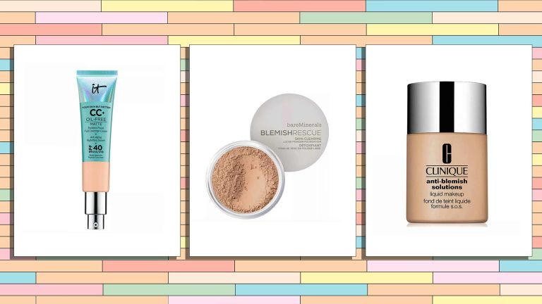 A selection of the best foundation for acne prone skin, from lef to right IT Cosmetics, Bareminerals and Clinque