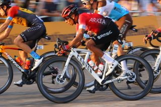 Nairo Quintana races into Paris on the final stage of the 2020 Tour de France, but it was later discovered that the Arkéa-Samsic leader has fractured his kneecap in one of his multiple crashes during the season