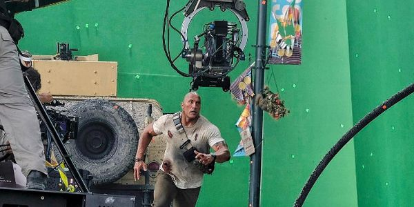 The Rock Running on the set of Rampage
