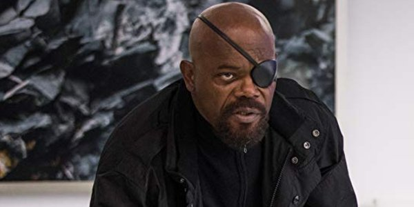 Spider-Man: Far From Home Nick Fury looks angry in front of a painting
