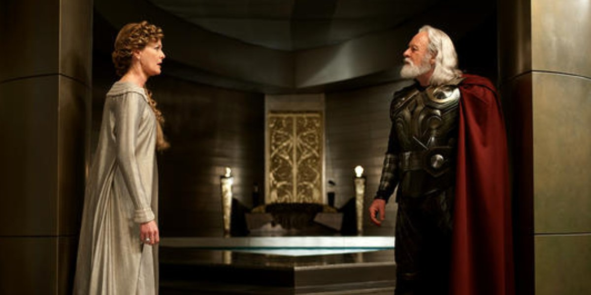 Rene Russo as Frigga and Anthony Hopkins as Odin in Thor: The Dark World