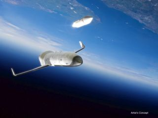 DARPA's Experimental Space Plane Deploying a Satellite