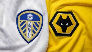 Badges of Premier League teams Leeds and Wolves