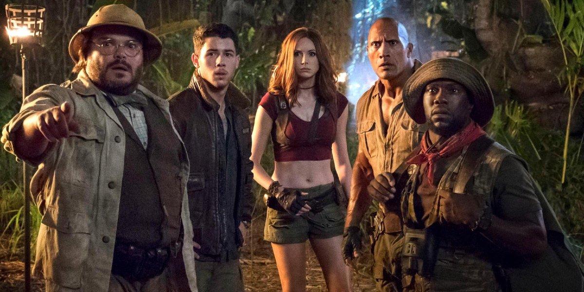 Jack Black, Nick Jonas, Karen Gillan, Dwayne Johnson, and Kevin Hart in Jumanji: Welcome to the Jungle