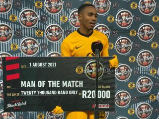 Njabulo Blom of Kaizer Chiefs awarded man of the match during the 2021 Carling Black Label Cup