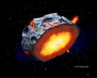 An artist's depiction of the metallic asteroid Psyche during its hypothesized volcanic phase.