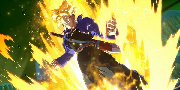 Trunks charges up in Dragon Ball FighterZ.