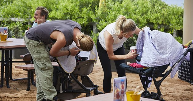 Ash (Martin Ashford) and Liz check to see if their babies are ok after their prams collided in Home and Away.