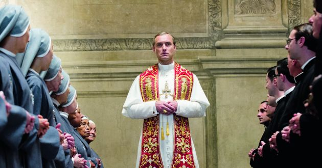 Jude Law may look like the most unlikely head of the Catholic Church, but that's all part of the fun of this glossy but quirky saga