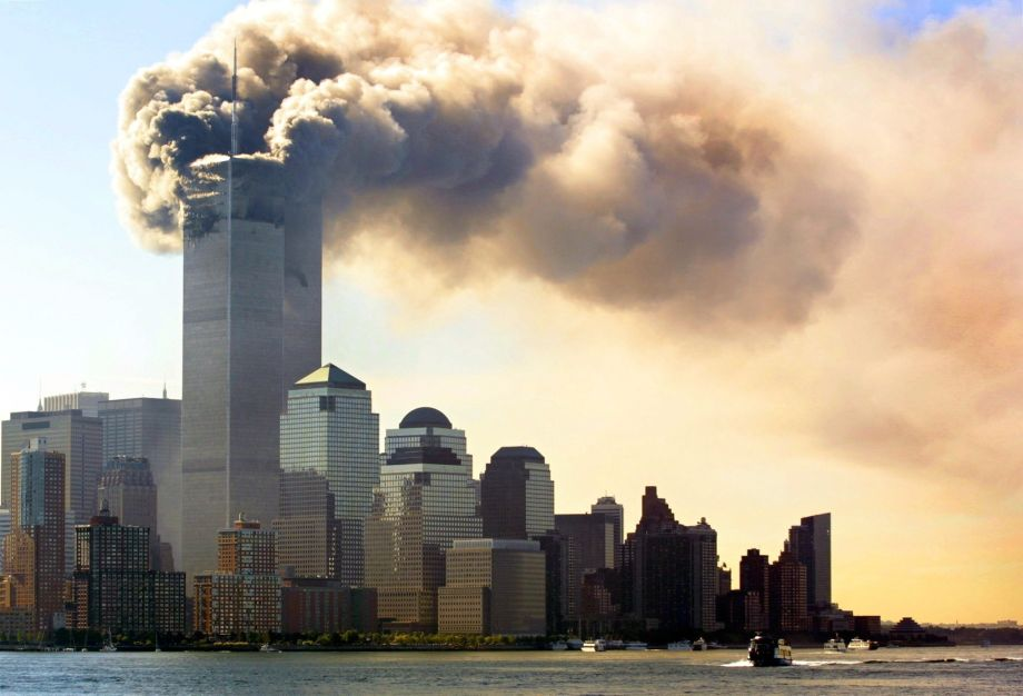 Smoke rises from the World Trade Center