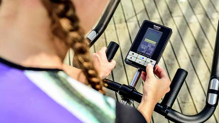Best spin bikes: Reebok GSB Electronic Aerobic Bike in use LCD screen