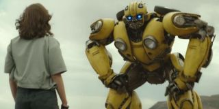 Hailee Steinfeld with Bumblebee in the 2018 film
