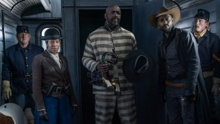 """Regina King as Trudy Smith, Idris Elba as Rufus Buck, and LaKeith Stanfield as Cherokee Bill in """"The Harder They Fall"""" on Netflix."""