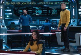 """Anson Mount, Rebecca Romijn and Ethan Peck in """"Star Trek: Strange New Worlds."""""""