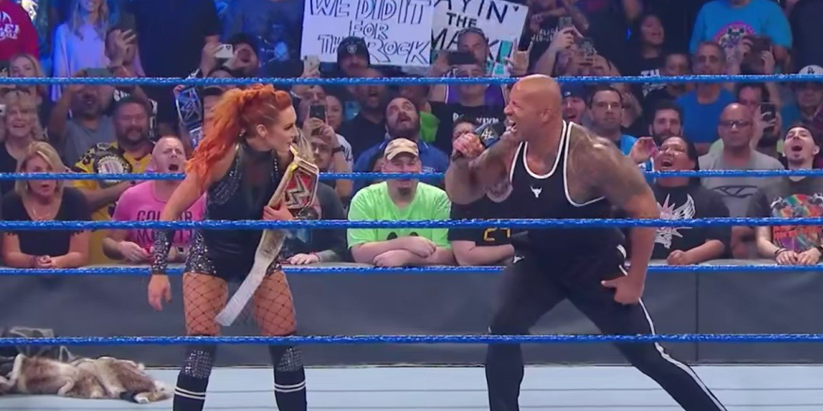 Becky Lynch and The Rock on Friday Night SmackDown