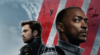 Sam Wilson and Bucky Barnes on The Falcon and the Winter Soldier poster.