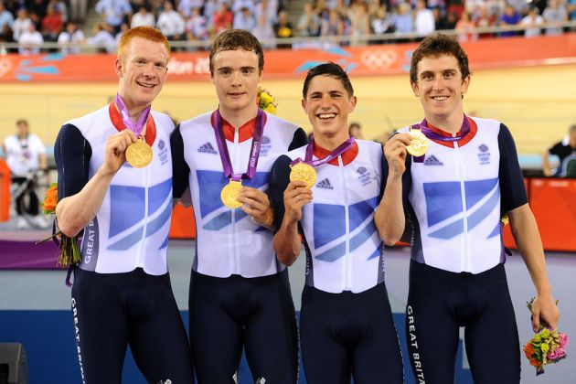 Great Britain win team pursuit, London 2012 Olympic Games, track cycling day two