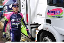 Chris Horner at the Lampre-Merida team bus