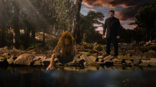 A young Neanderthal girl kneels at the water's edge as host Neil deGrasse Tyson looks on. Until about 40,000 years ago, our Neanderthal relatives lived very much as we did.