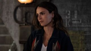 Jordana Brewster looking concerned as Mia in F9