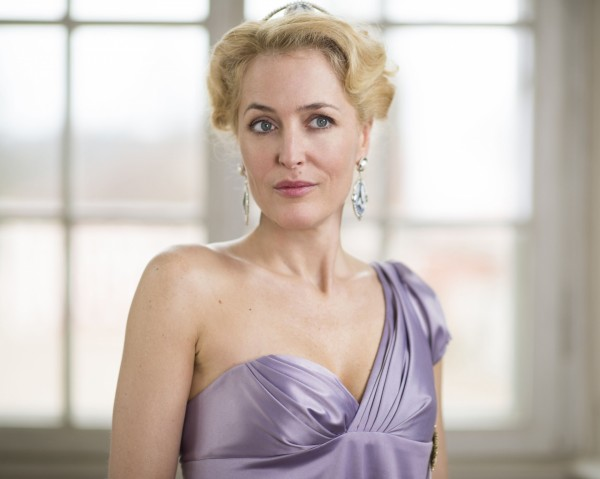 Gillian Anderson in an off-the shoulder dress