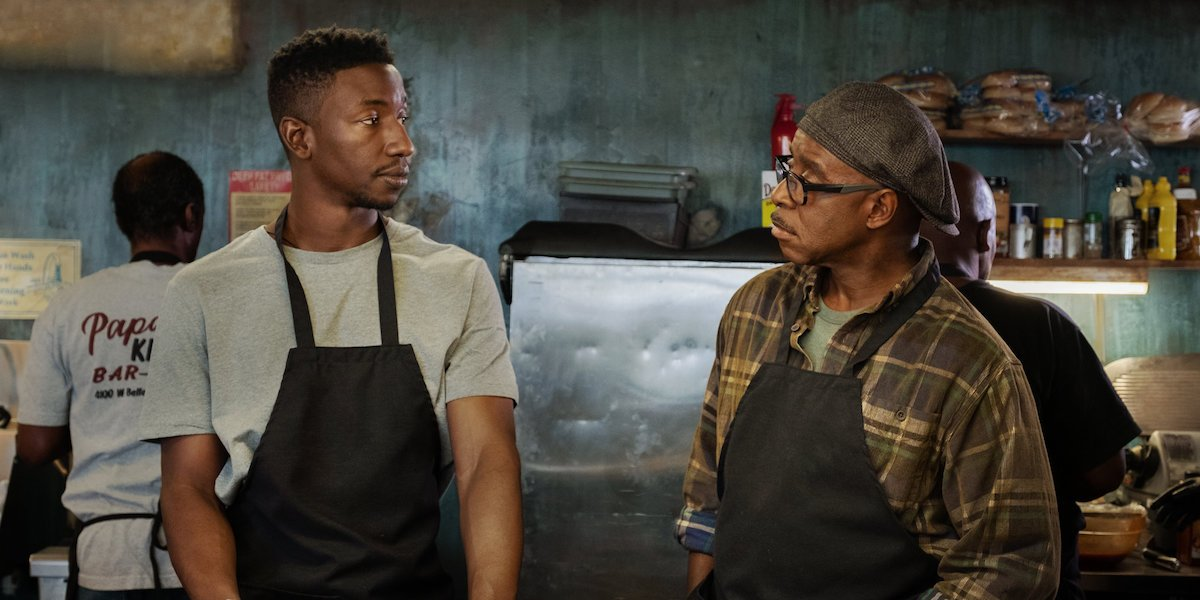 Uncorked Mamoudou Athie and Courtney B Vance working in the kitchen together