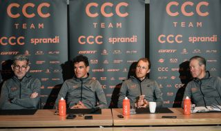 CCC Team sport director Valerio Piva Belgian Greg Van Avermaet of CCC Team Italian Matteo Trentin of CCC Team and CCC Team General manager Jim Ochowicz pictured during press conference of CCC cycling team in Oostkamp ahead of the 75th edition of the oneday cycling race Omloop Het Nieuwsblad Friday 28 February 2020 BELGA PHOTO DAVID STOCKMAN Photo by DAVID STOCKMANBELGA MAGAFP via Getty Images