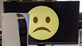 PlayStation 5 and a sad monitor