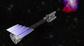 An illustration of the Imaging X-ray Polarimetry Explorer (IXPE) spacecraft, which will launch in April 2021 on a Falcon 9.