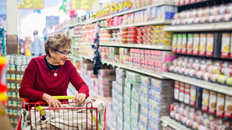 elderly person shopping