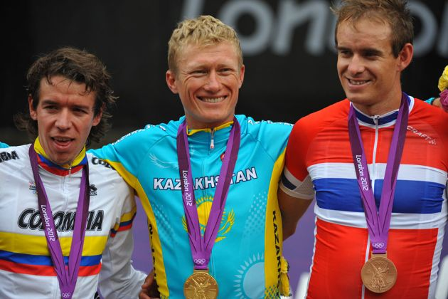 Men's podium - Uran, Vinokourov and Kristoff, London 2012 Olympic men's road race