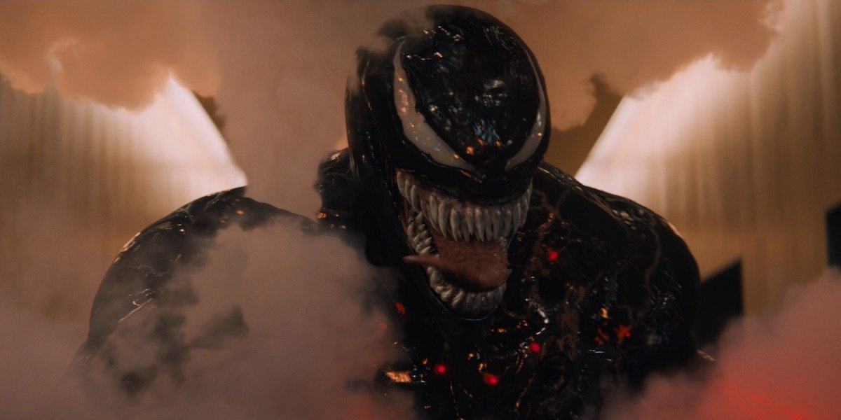 Venom surrounded by smoke in 2018 movie
