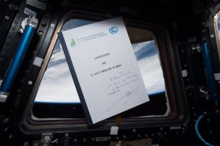 """French astronaut Thomas Pesquet posted this image on Twitter Tuesday (June 6), writing. """"I took the #ParisAgreement to the ISS: from space, climate change is very real. Some could probably use the view #MakeOurPlanetGreatAgain,"""" he tweeted."""