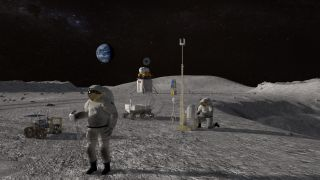 An artist's depiction of astronauts working on the moon.
