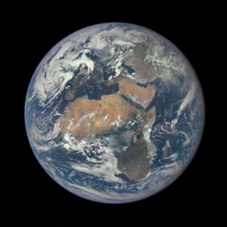 A NASA camera aboard the Deep Space Climate Observatory satellite caught this view of Africa and the entire sunlit side of Earth on July 9, 2015.