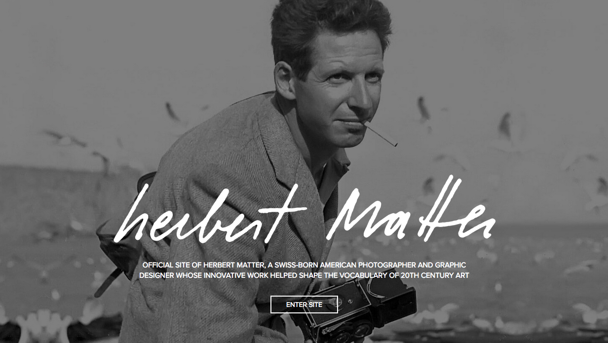Screenshot of Herbert Matter's portfolio site with black and white portrait of a man
