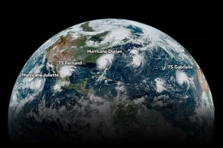 Four tropical cyclones simultaneously churn across the Western Hemisphere in this image captured by the GOES-16 weather satellite in September 2019. Weather forecasting/monitoring is just one of many ways that space tech improves our lives.