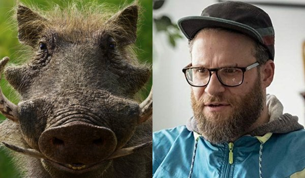 The Lion King Pumbaa and Seth Rogen side by side