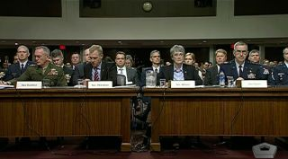 Chairman of the Joint Chiefs of Staff Gen. Joseph Dunford, Acting Defense Secretary Patrick Shanahan, Air Force Secretary Heather Wilson, and Commander of U.S. Strategic Command Gen. John Hyten testify April 11, 2019 in front of the Senate Armed Services Committee.