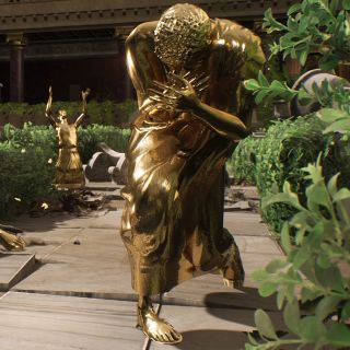 The Forgotten City - A golden statue of a Roman citizen in a toga crouches covering their face in a garden.