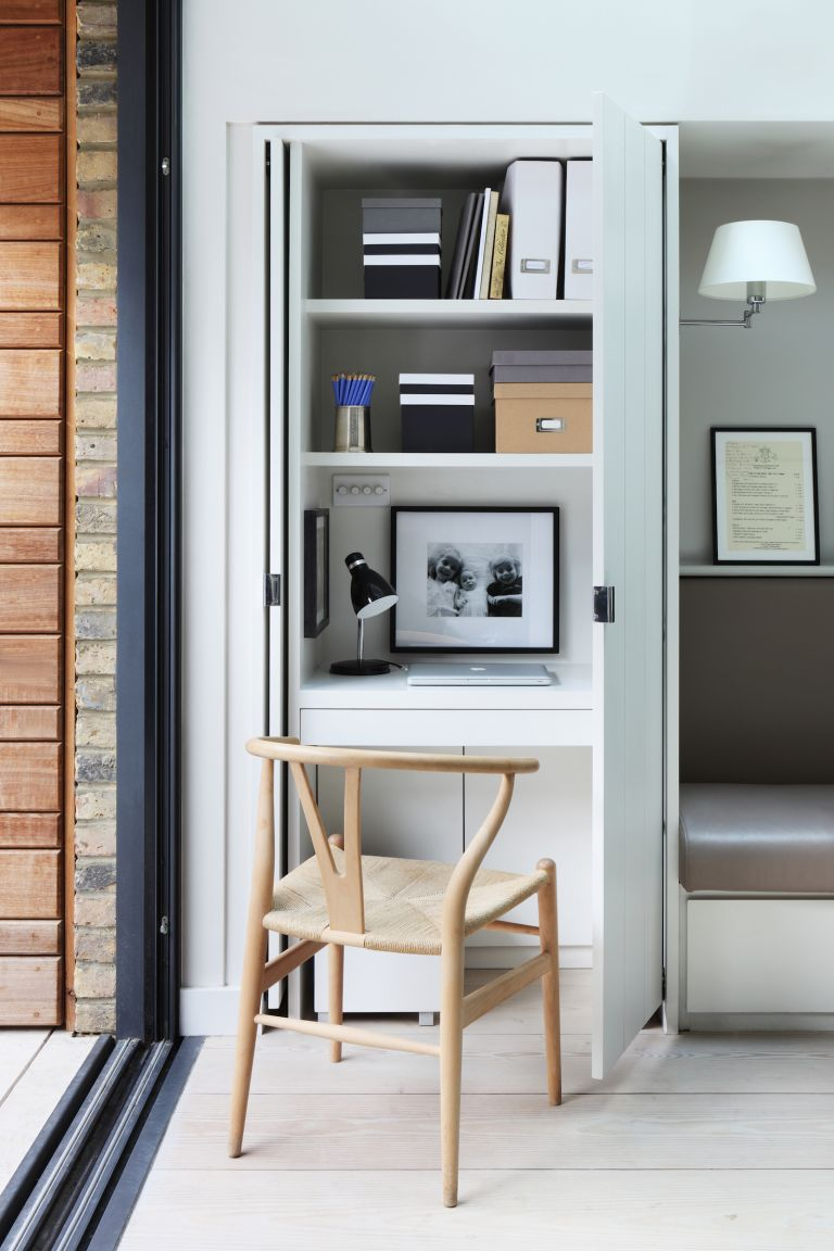 Closet office in the corner of an open plan kitchen
