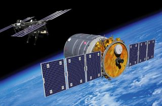 Artist's Rendering of Cygnus Spacecraft Approaching the International Space Station