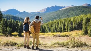 Hikers in Breckenridge Colorado looking at the mountains