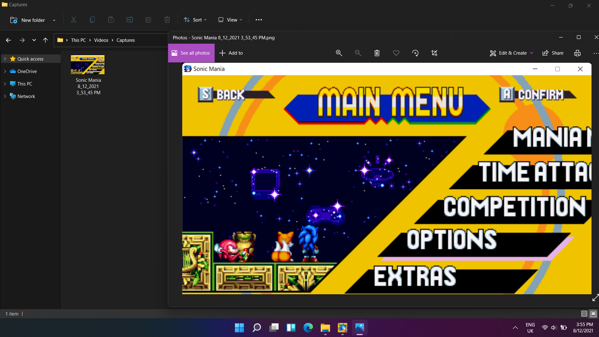 Sonic Mania screenshot in Windows 11