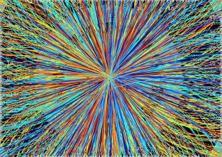 Particle collisions at the LHC.