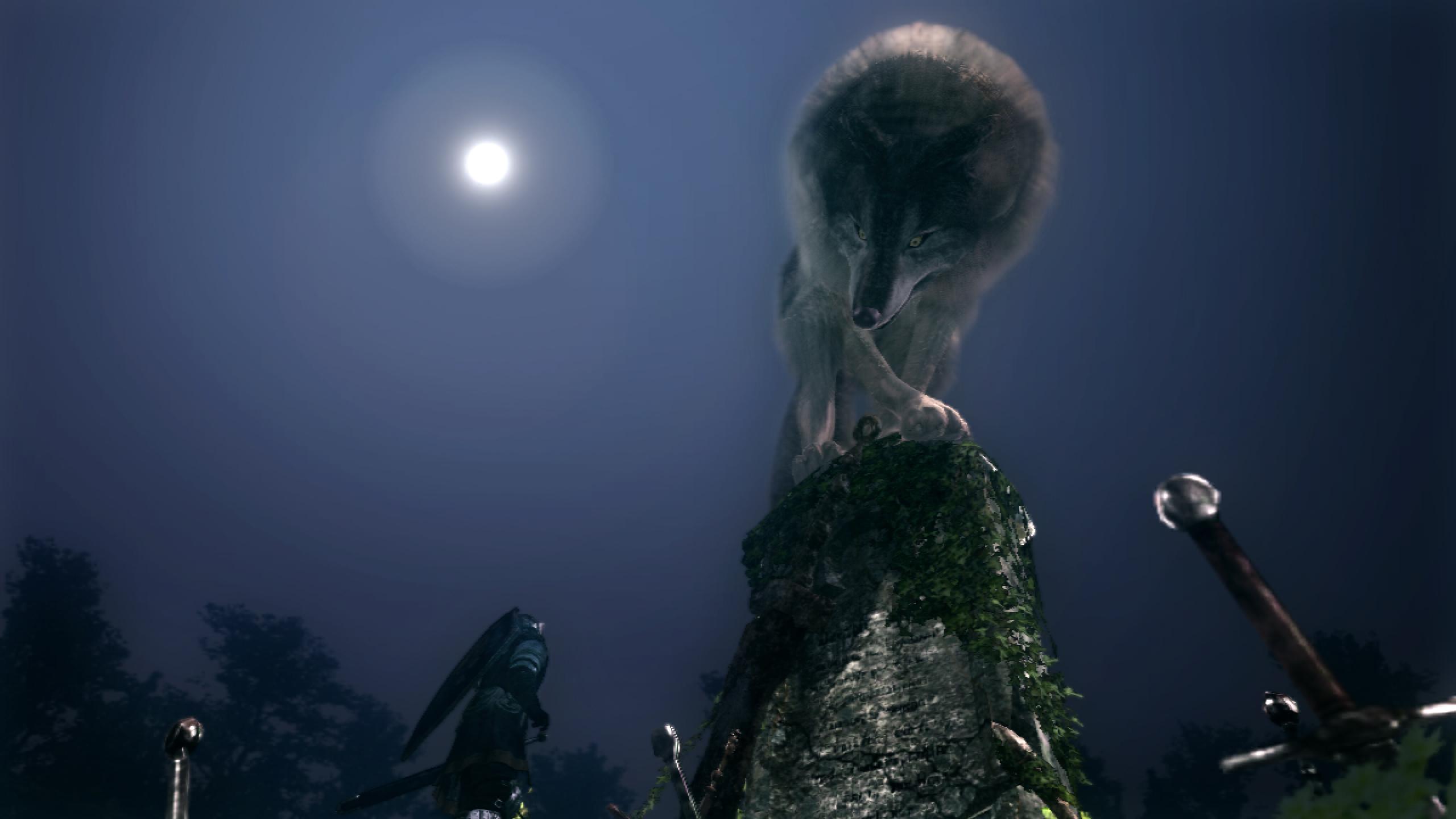 Dark Souls Great Grey Wolf Sif boss intro