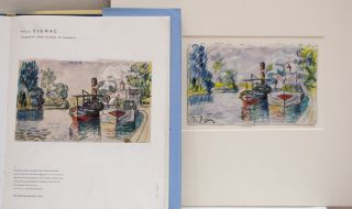"""At right is a Mark Landis forgery of an original painting by Paul Signac, a French painter whose work often portrayed the French coast. The original was titled """"Tug Boat and Barge in Samois."""" The original currently hangs in the Hermitage Museum in St. Pet"""
